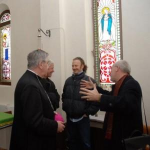Paolo Moro Inaugurazione Mostra Giotto Bolzano Bellunese da sx il Vescovo Andrich Monsignor Mazzorana io e Prof Fillipetti1 300x300