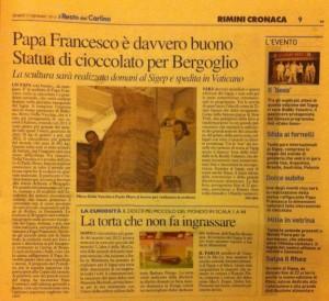Paolo Moro Papa Francesco statua cioccolato 300x274